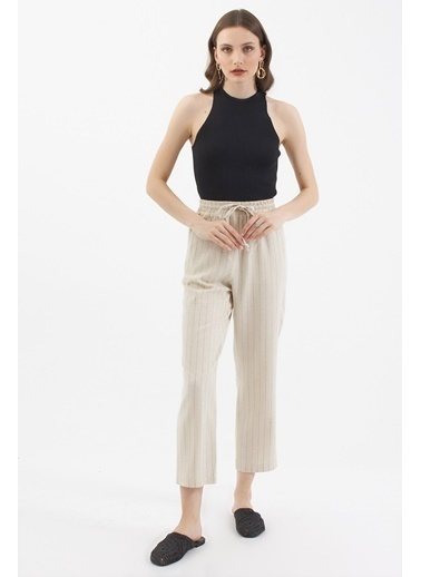 Pattaya Pattaya Kadın Çizgili Keten Pantolon P21S201-2372 Krem